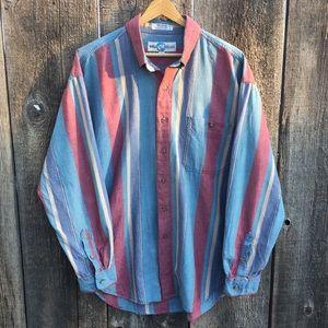VTG 80s-90s Casual Striped Button Down Shirt, XL